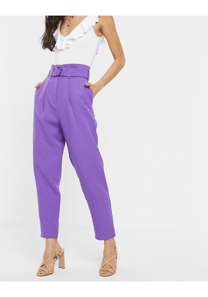 ASOS DESIGN paperbag trousers with d ring in lilac-Purple