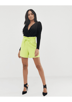 ASOS DESIGN crepe paperbag waist short in longer length-Green