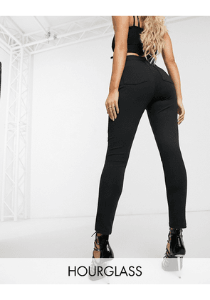 ASOS DESIGN Hourglass high waisted stretch treggings in ponte-Black