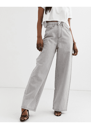 ASOS DESIGN High rise 'relaxed' dad jeans in concrete grey wash-Beige