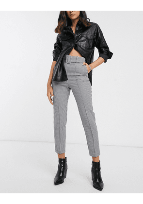 ASOS DESIGN belted slim trousers in mono gingham check-Multi