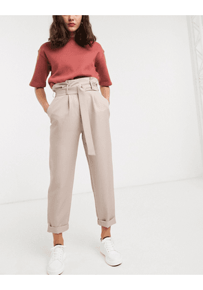 ASOS DESIGN d ring tapered trouser in camel-Beige