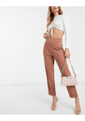 ASOS DESIGN crepe peg trouser with pintucks-Pink