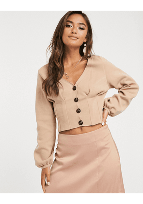 ASOS DESIGN structured knit cardigan with volume sleeve-Stone