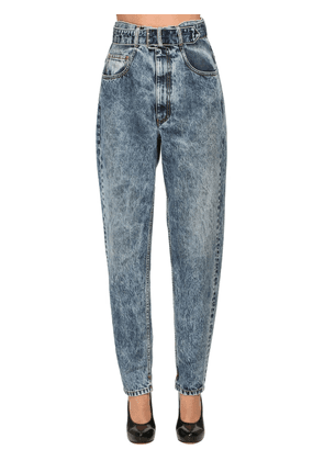 High Waist Belted Cotton Denim Jeans