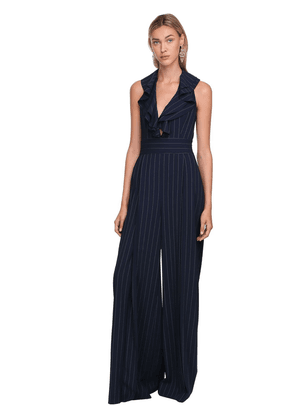 Pinstripes Wool Twill Wide Leg Jumpsuit