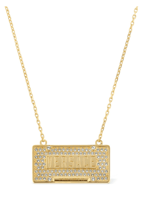 Logo Long Chain Necklace W/ Crystals