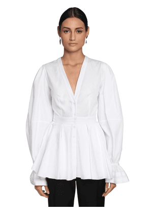 Cotton Poplin Blouse W/ Peplum