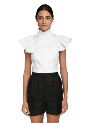 Ruched Cotton Pique & Poplin Crop Top
