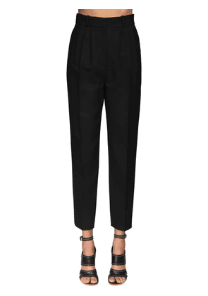 High Waist Light Wool & Silk Pants