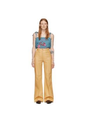 Gucci Yellow Leather Flare Trousers