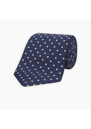 Long Navy and White Spot Printed Silk Tie