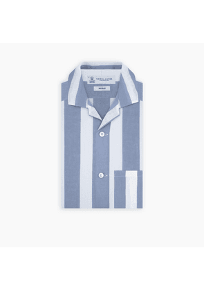 Holiday Fit Blue and White Stripe Linen Short Sleeve Shirt with.
