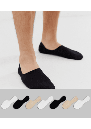ASOS DESIGN 7 pack invisible liner sock in black white & stone colours save-Multi