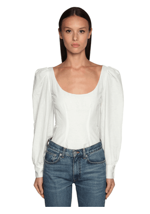 Cotton Blend Top W/ Puff Sleeves