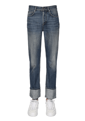 Folded Hem Cotton Denim Jeans