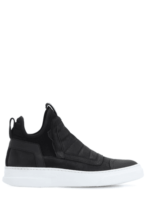 Damper Washed Leather High Top Sneakers