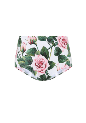 High-rise floral bikini bottoms