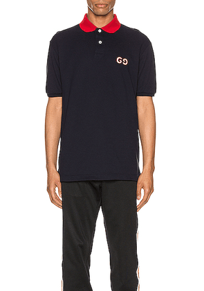 Gucci GG Embroidery Polo in Navy & Live Red & MC - Blue. Size XS (also in M,S).