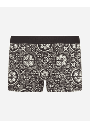 Dolce & Gabbana Underwear - COTTON BOXERS WITH MAIOLICA PRINT ON A BLACK BACKGROUND MAIOLICA PRINT
