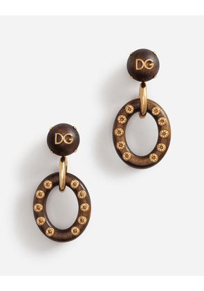 Dolce & Gabbana Bijoux - HOOP EARRINGS WITH LOGOED WOODEN BALLS GOLD