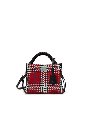 Mulberry Small Iris in Scarlet Large Tartan Woven Leather Check