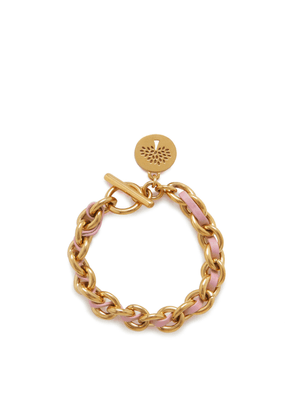Mulberry Leather Chain Bracelet in Gold and Pink