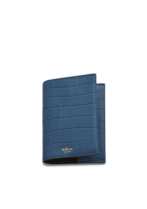 Mulberry Passport Cover in Pale Navy Matte Croc