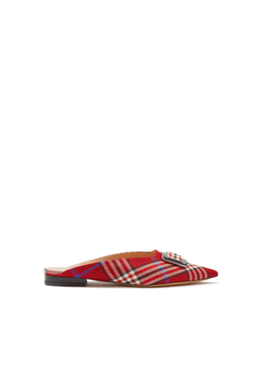 Mulberry Punky Square Buckle Mule in Scarlet Woven Leather