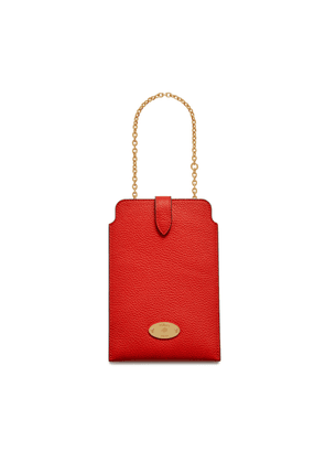Mulberry Plaque Phone Pouch in Lipstick Red Small Classic Grain