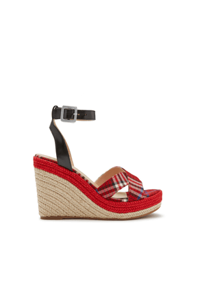 Mulberry Sunset Wedge Espadrille in Scarlet Tartan Fabric and Calfskin