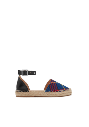 Mulberry Sunset Flat Espadrille in Porcelain Blue and Black Smooth Calf