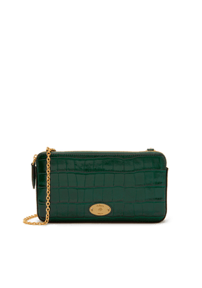 Mulberry Plaque Wallet on Chain in Jungle Green Croc Print