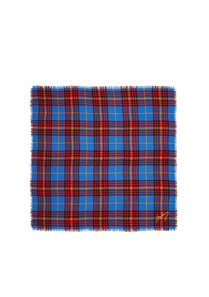 Mulberry Bright Colour Check Square in Porcelain Blue Wool