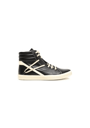 Rick Owens Leather High-top Sneakers Woman Black Size 36