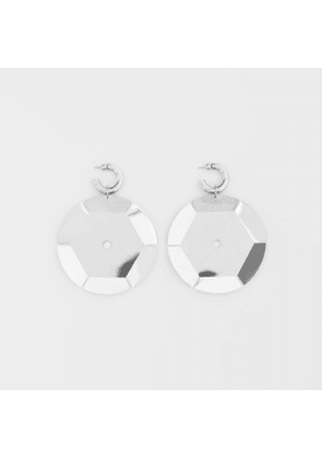 Burberry Palladium-plated Paillette Hoop Earrings, Grey