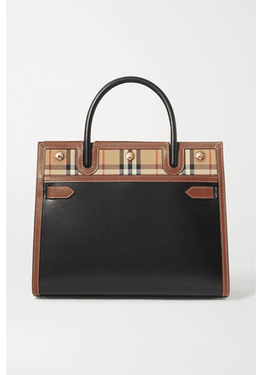 Burberry - Medium Leather And Checked Canvas Tote - Black