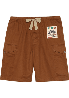 Gucci washed cotton drill shorts - Brown