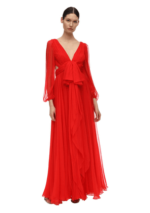 Maxi Round Silk Crepe Dress W/bow