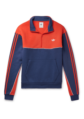 adidas Originals - Colour-block Fleece-back Cotton-blend Jersey Half-zip Sweatshirt - Blue