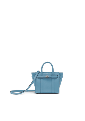 Mulberry Micro Zipped Bayswater in Pale Slate Small Classic Grain