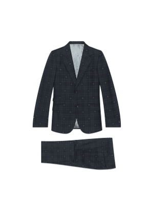 Fitted bee check wool suit