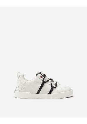 Dolce & Gabbana Shoes - PORTOFINO LIGHT SNEAKERS IN RUBBER CALFSKIN WHITE/BLACK
