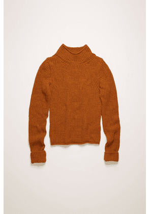 Acne Studios FN-WN-KNIT000201 Cognac brown  Ribbed mock-neck sweater