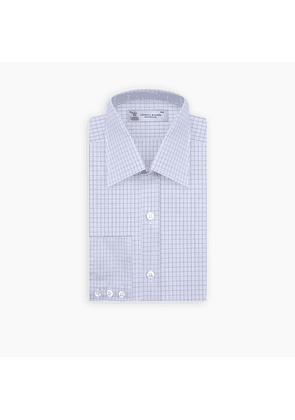 Light Blue and Navy Windowpane Check Shirt with T & A Collar and.