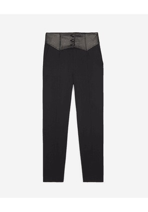 The Kooples - High-waisted black trousers in wool w/leather - WOMEN