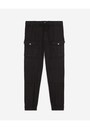 The Kooples - Cotton military-effect black trousers - WOMEN