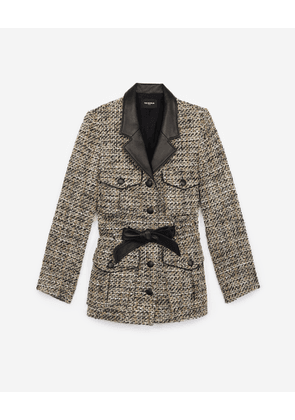 The Kooples -  Fitted grey tweed jacket with leather details - WOMEN