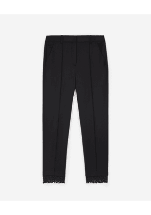 The Kooples - Stretchy black suit trousers in wool w/lace - WOMEN