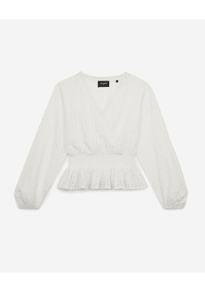 The Kooples - Ecru cotton top w/smocking&floral embroidery - WOMEN